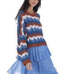 allison new york women's open weave summer sweater