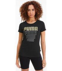 rebel graphic t-shirt voor dames, zilver/zwart/goud/aucun, maat s | puma