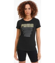 rebel graphic t-shirt voor dames, zilver/zwart/goud, maat s | puma