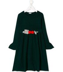 il gufo crocheted belt dress - green