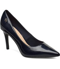 feminine patent high heel pump shoes heels pumps classic blå tommy hilfiger