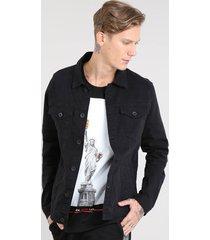 jaqueta de sarja masculina com bolsos preta