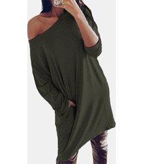 camicetta casual allentata a maniche lunghe tinta unita con spalle scoperte per donna