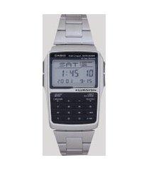 relógio digital casio masculino com calculadora- dbc32d1adfu prateado