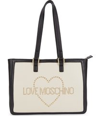 love moschino women's studded logo leather tote - ivory black