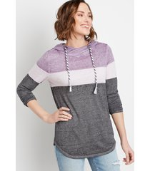 maurices womens drawstring striped pullover hoodie purple