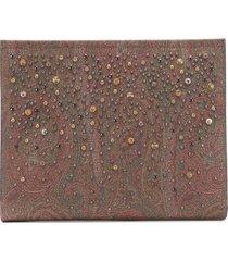 etro stud-embellished clutch bag - brown