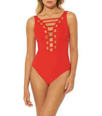 women's bleu by rod beattie hole in one mio plunge one-piece swimsuit, size 12 - red