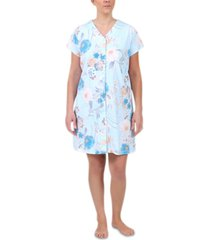 miss elaine plus size floral-print short gripper robe