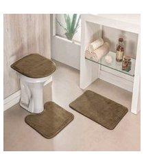 kit tapete de banheiro liso 3 peças antiderrapante castor
