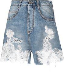 ermanno scervino lace apploque denim shorts - blue