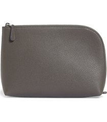 the row medium leather zip pouch - grey