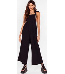 womens oh what a tie wide-leg overalls - black