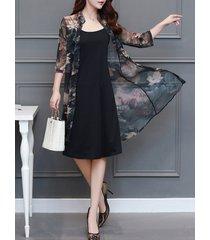 donna vintage abito a spalline cardigan a 2 pezzi con stampa a maniche lunghe in colore a tina unita