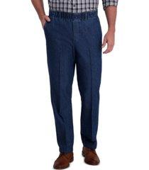 haggar men's premium classic-fit wrinkle-free stretch elastic waistband denim dress pants
