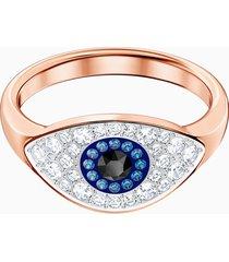 anello swarovski symbolic evil eye, multicolore, placcato oro rosa