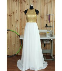 long champagne gold sequin white chiffon  bridesmaid prom dresses 2017
