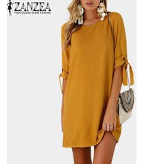 zanzea chiffon vintage mini vestido plegable de manga larga con cordones o cuello recto simple kaftan mujeres otoño casual vestido de moda -amarillo