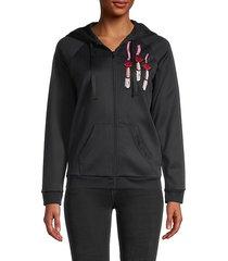 embroidered nero zip sweatshirt