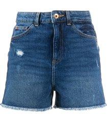 emporio armani j32 slim high-waisted shorts - blue