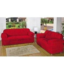 capa de sofá atual 2 e 3 lugares vermelho com 2 peças malha elástica - aquarela