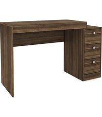 mesa escritório c/ gaveteiro castanho djd móveis marrom