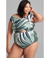 lane bryant women's no-wire crossover-neck swim one piece 18 grand palms