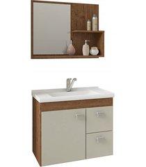 gabinete suspenso para banheiro hortência 46x55cm amêndoa e off white