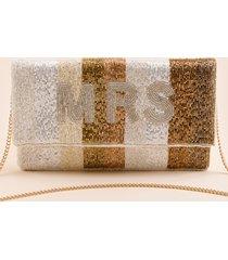 women's mrs. stripe clutch in champagne by francesca's - size: one size