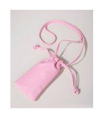 bolsa feminina porta celular com tira de ajuste rosa