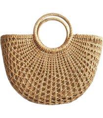 bolsa sacola artestore de palha de milho trico praia trançada com alça de madeira bicolor