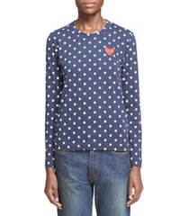 women's comme des garcons play polka dot tee, size x-small - blue