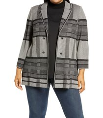 plus size women's ming wang plaid knit jacket, size 1x - beige