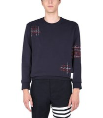 thom browne sweatshirt with pointed embroidered
