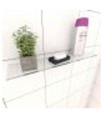 kit com 1 prateleira para banheiro 40 cm vidro temperado