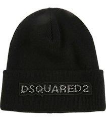 dsquared2 strass patch logo knit beanie