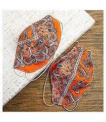 cotton and polyester face masks, 'orange bandana' (pair) (mexico)