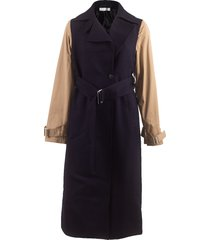 contrast sleeve fitted coat