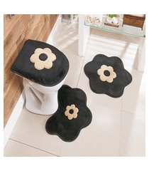 kit tapete de banheiro 3 peças antiderrapante margarida preta