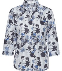 blouse 3/4-sleeve långärmad skjorta blå gerry weber edition