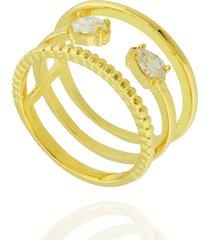 anel dona diva semi joias largo gota dourado