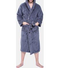 accappatoio da uomo in flanella, accappatoio, pigiama ampio, pigiama con cappuccio, tasche con tasche