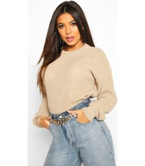 open knit turtle neck sweater, stone
