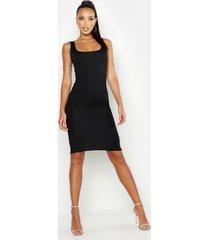 basic bodycon midi jurk met vierkante hals, zwart