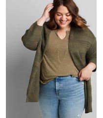 lane bryant women's open-stich overpiece sweater 14/16 dried sage