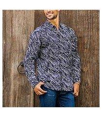men's cotton batik shirt, 'bold rain' (indonesia)