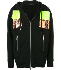 dsquared2 paneled hoodie - black