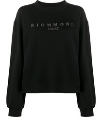 john richmond rhinestone logo sweatshirt - black