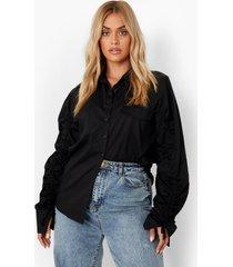 plus geplooide mouwen oversized shirt, black
