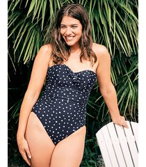 sorrento spot frill underwire bandeau polka dot tummy control one-piece swimsuit c-g cup